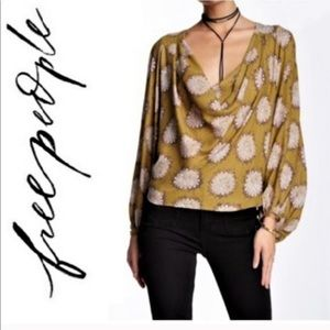 Free People Floral Print Cowl Neck Blouse